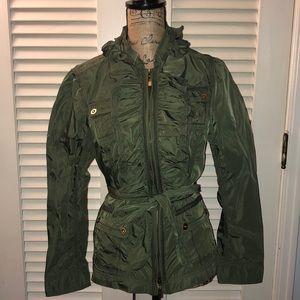 WH BM Military Green Ruffled Jacket
